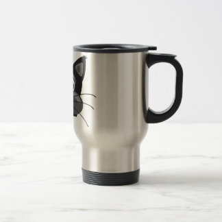 Green-eyed black Cat Travel Mug