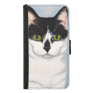 Green-Eyed Black & White Cat Painting Samsung Galaxy S5 Wallet Case