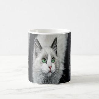 green eyed cat coffee mug