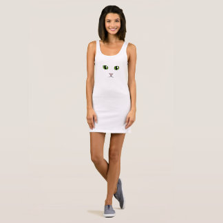 Green-Eyed Cat Face Tank Top Dress