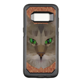 Green Eyed Cat Polygon Graphic Design, OtterBox Commuter Samsung Galaxy S8 Case