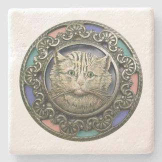 Green Eyed Cat Sandstone Coaster