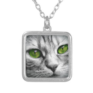 green eyed cat silver plated necklace
