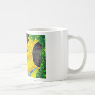 Green-Eyed Cat with Ladybug and Flower Coffee Mug