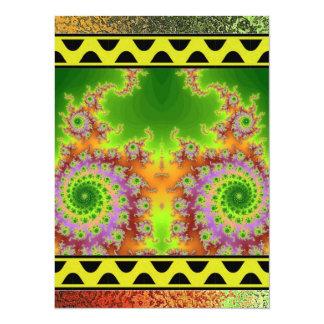 Green Eyed Fractal 14 Cm X 19 Cm Invitation Card