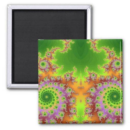 Green Eyed Fractal Refrigerator Magnet