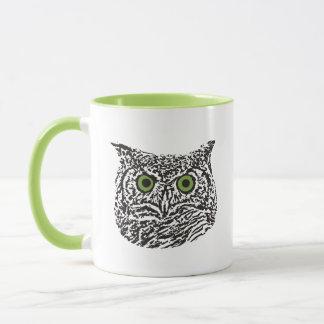 Green-Eyed Graphic Owl Mug