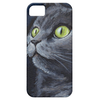 Green Eyed Grey Cat Painting Barely There iPhone 5 Case