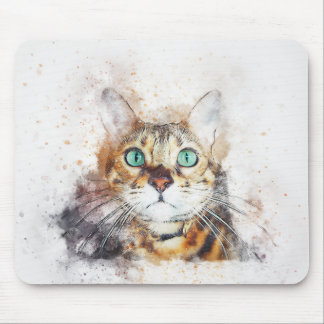 Green Eyed Kitty Portrait | Abstract | Watercolor Mouse Pad