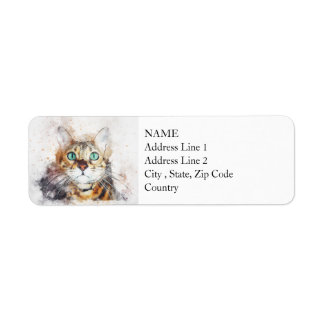 Green Eyed Kitty Portrait | Abstract | Watercolor Return Address Label