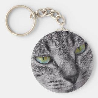 Green eyed tabby cat keychain