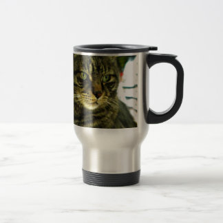 Green Eyed Tabby Face Travel Mug