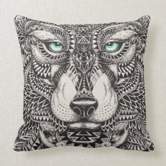 Green Eyed Wolf Ornate Illustration Cushion
