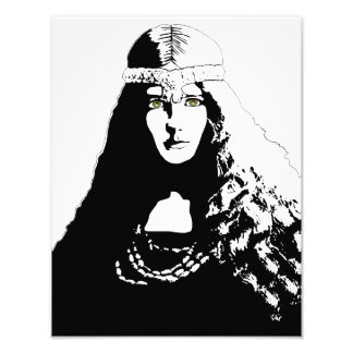 Green-eyed Woman in Black and White Art Photo