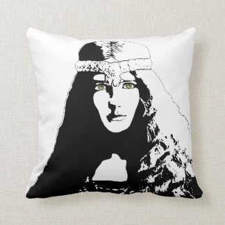 Green-eyed Woman in Black and White Cushion