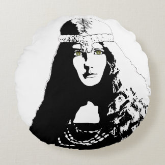 Green-eyed Woman in Black and White Round Cushion