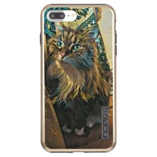 Green Eyed Wonder Kitty gold phone case