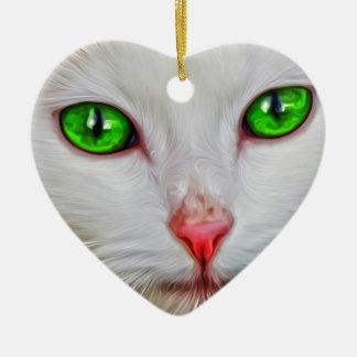 Green Eyes Cat Ceramic Ornament