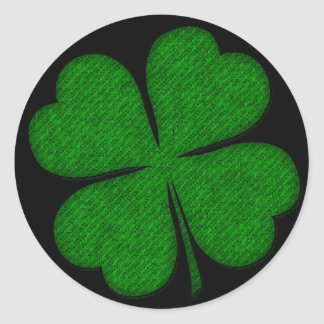 Green Fabric Textured Shamrock Design Stickers