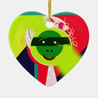 Green face ceramic heart decoration