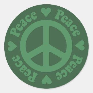 Green Fade Peace Sign Round Sticker