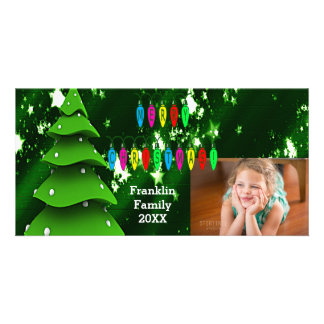 Green Fake Christmas Tree and Lights Photo Card