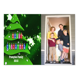 Green Fake Christmas Tree with Photo Flat Card 13 Cm X 18 Cm Invitation Card