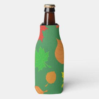 Green fall leaves bottle cooler