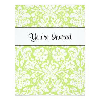 Green fancy damask pattern 11 cm x 14 cm invitation card