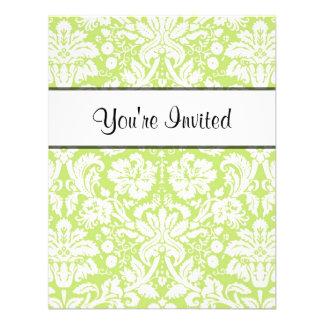 Green fancy damask pattern invitation