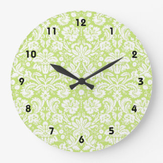 Green fancy damask pattern wall clocks