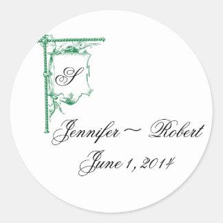 Green Fancy Monogram Wedding Envelope Seal Round Sticker