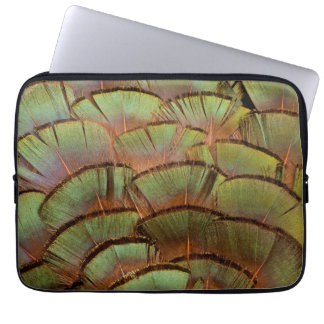 Green fanned Pheasant feather Laptop Sleeve