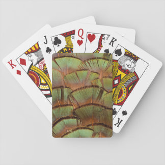 Green fanned Pheasant feather Playing Cards