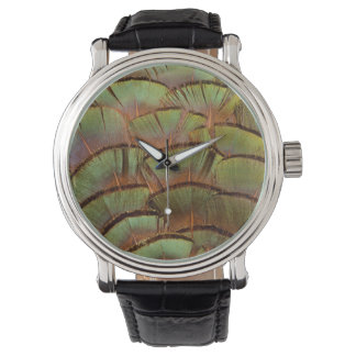 Green fanned Pheasant feather Watch