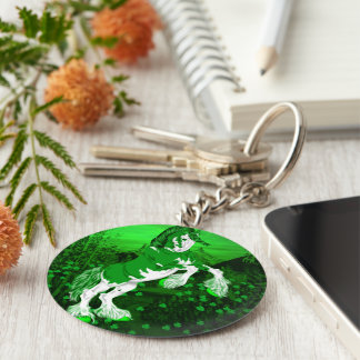 Green Fantasy Clydesdale Horse Clover Basic Round Button Key Ring