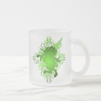 Green Fantasy Unicorn Frosted Monogram Mug