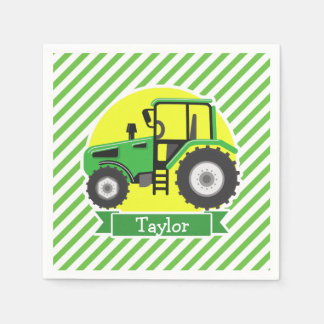 Green Farm Tractor with Yellow;  Green & White Disposable Serviettes