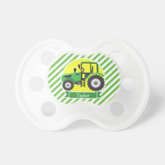 Green Farm Tractor with Yellow;  Green & White Pacifiers