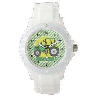 Green Farm Tractor with Yellow;  Green & White Watch