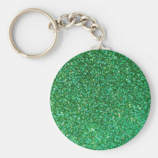 Green faux glitter graphic keychain