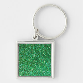 Green faux glitter graphic key chains