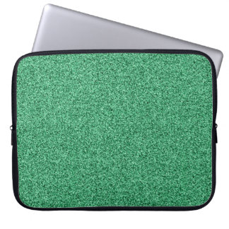 Green faux glitter laptop sleeve