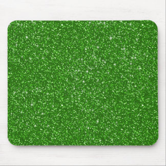 Green Faux Glitter Pattern Texture Mouse Pad