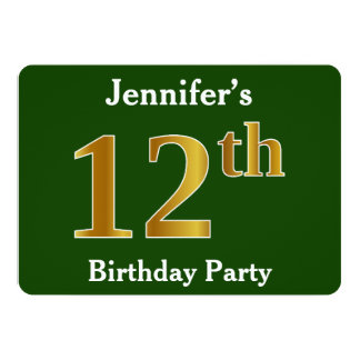 Green, Faux Gold 12th Birthday Party + Custom Name Card