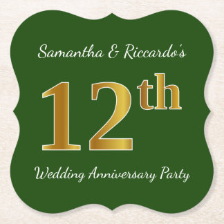 Green, Faux Gold 12th Wedding Anniversary Party Paper Coaster