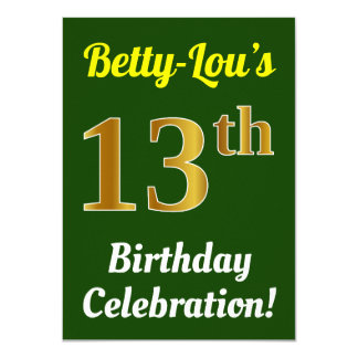 Green, Faux Gold 13th Birthday Celebration + Name Card