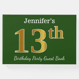 Green, Faux Gold 13th Birthday Party + Custom Name Guest Book