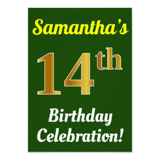 Green, Faux Gold 14th Birthday Celebration + Name Card