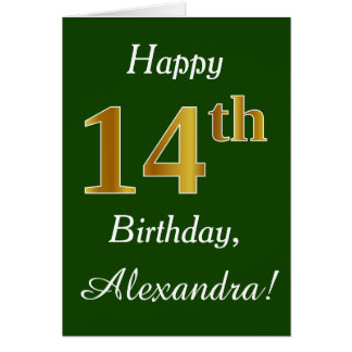 Green, Faux Gold 14th Birthday + Custom Name Card